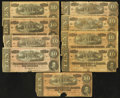 Confederate Notes:Group Lots, T68 $10 1864. Nine Examples. ... (Total: 9 notes)