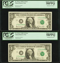 Error Notes:Shifted Third Printing, Fr. 1911-C $1 1981 Federal Reserve Notes. Two Consecutive Examples. PCGS Choice About New 58PPQ.. ... (Total: 2 notes)