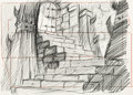Animation Art:Production Drawing, The Black Cauldron Castle Stairs Animation Drawing (WaltDisney, 1985).... (Total: 2 Original Art)