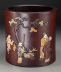 Asian:Chinese, A Large Chinese Appliqué Hardwood Brushpot. 9 inches high x 9-3/8inches diameter (22.9 x 23.8 cm). ...