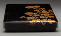 Asian:Japanese, A Japanese Black-Lacquer Suzuribako (Writing Box) and Cover. lateMeiji or early Taisho Period, circa 1915. 1-5/8 h x 10-1/4...
