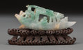 Asian:Chinese, A Chinese Carved Jadeite Boat with Stand, early 19th century. 3-1/2inches high (8.9 cm). Provenance: Ethry Shaw Guellow c... (Total: 2Items)