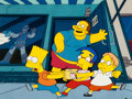 Animation Art:Production Cel, The Simpsons Bart, Milhouse, Martin, and Comic Book GuyProduction Cel (Fox, 1991)....