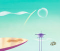 Animation Art:Painted cel background, Jetsons: The Movie Painted Background (Hanna-Barbera,1990)....