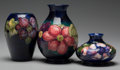 Ceramics & Porcelain, British:Modern  (1900 1949)  , Three Moorcroft Pottery Vases with Anemone Motif, Burslem(Stoke-on-Trent), Staffordshire, England, 20th century... (Total: 3Items)