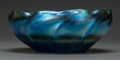 Art Glass:Tiffany , A Tiffany Studios Blue Favrile Glass Ribbed Bowl, Corona, New York,circa 1910. Marks: L.C.T. Favrile. 3-1/4 inches high...