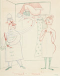 Animation Art:Production Drawing, T. Hee - Hand-Drawn Christmas Card Original Art (1950)....