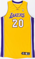 Basketball Collectibles:Uniforms, 2009 Thomas Kelati Game Issued Los Angeles Lakers Jersey....