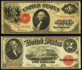Large Size:Legal Tender Notes, $1 and $2 1917 Legals.. ... (Total: 2 notes)