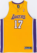 Basketball Collectibles:Uniforms, Andrew Bynum Signed Los Angeles Lakers Jersey....