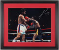 Boxing Collectibles:Autographs, Roberto Duran and Sugar Ray Leonard Signed Oversized Photograph....