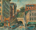 Fine Art - Painting, American:Other , Ben Abril (American, 1923-1995). Angels Flight, Los Angeles.Oil on canvas. 20-1/4 x 24 inches (51.4 x 61 cm). Signed lo...