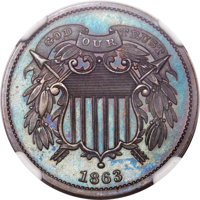 1863 2C Two Cents, Judd-312, Pollock-377, R.4, PR65 Brown NGC. CAC....(PCGS# 60467)