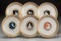 Six Mintons Pâte-sur-Pâte Partial Gilt Porcelain Dessert Plates with Reticulated Edge, Stoke-on-Trent, Staff...