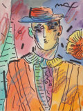 Fine Art - Work on Paper:Drawing, Peter Max (American/German, b. 1937). Zero's Friend, VersionIII, #1. Mixed media on paper. 4-3/4 x 3-3/4 inches (12.1 x...