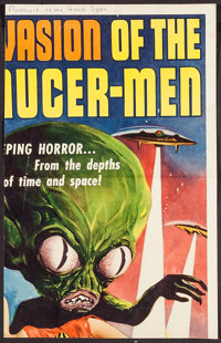 "Invasion of the Saucer-Men (American International, 1957). Partial Insert (11.25"" X 17.75""). Science Fiction..."