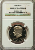 Proof Kennedy Half Dollars, 1988-S 50C PR70 Ultra Cameo NGC. NGC Census: (168). PCGS Population(416). Numismedia Wsl. Price for problem free NGC/PCGS...