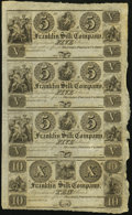 Obsoletes By State:Ohio, Franklin, OH- Franklin Silk Company $5-$5-$5-$10 18__ Uncut Sheet....