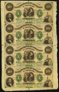 Obsoletes By State:Louisiana, New Orleans, LA- Citizens' Bank of Louisiana $10-$10-$10-$10 Aug. 23, 1860 Uncut Sheet. ...