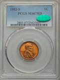 Lincoln Cents, 1952-S 1C MS67 Red PCGS. CAC. PCGS Population: (196/0). NGC Census: (439/0). CDN: $115 Whsle. Bid for problem-free NGC/PCGS...