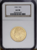 Indian Eagles: , 1932 $10 AU58 NGC. NGC Census: (202/27473). PCGS Population(408/29404).Mintage: 4,463,000. Numismedia Wsl. Price: $433. (#...
