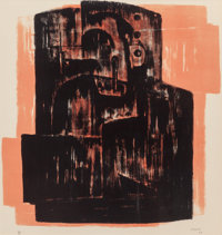 Henry Spencer Moore (British, 1898-1986) Black on Red Image, 1963 Lithograph in colors 20-1/2 x 1