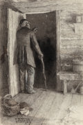 Fine Art - Work on Paper:Drawing, Edward Potthast (American, 1857-1927). Stargazer. Inkwashand charcoal on paper. 17-1/2 x 12 inches (44.5 x 30.5 cm) (sh...