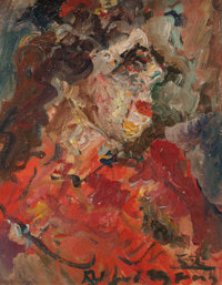 Alfred Gwynne Morang (American, 1901-1958) Portrait in Red, 1952 Oil on paper 10 x 8 inches (25.4