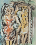 Fine Art - Work on Paper:Drawing, Alfred Gwynne Morang (American, 1901-1958). Untitled(Ladies). Watercolor, ink, and gouache on paper. 5-1/4 x4-1/4 ...