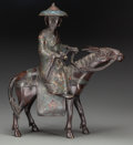 Asian:Chinese, A Chinese Bronze and Cloisonné Figural Group: Man onHorseback . Marks: (applied plaque to the underside). 16 h x15...