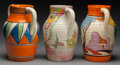 Ceramics & Porcelain, British:Modern  (1900 1949)  , Three Clarice Cliff Ceramic Bizarre Pattern Jugs: Lotus, Autumn,Pink Pearls, circa 1927-1934. Marks: HANDPAIN... (Total: 3Items)