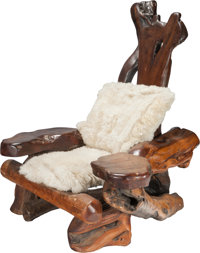 A Large and Unique American Craft Natural Tree-Form Walnut Armchair with Sheepskin Seat, circa 1940 57 h x 49 w x