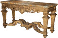 Furniture : French, A Régence-Style Carved Giltwood Console Table with Sienna MarbleTop, late 19th century. 35-3/4 h x 68 w x 25-1/4 d inches (...