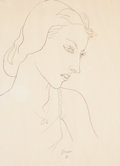 Fine Art - Work on Paper:Drawing, Jean Cocteau (French, 1889-1963). Portrait of JeannineCharrat, circa 1945-49. Pencil on paper. 9-3/4 x 7-1/4 inches(24...