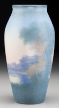 Ceramics & Porcelain, American:Modern  (1900 1949)  , A Rookwood Vellum Glaze Ceramic Landscape Vase by Timothy Hurley,Cincinnati, Ohio, circa 1929. Marks: (addorsed RP with 14 ...