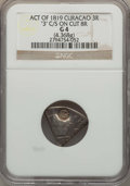 Curacao, Curacao: Dutch Colony Counterstamped 3 Reaal ND (1819-1825) G4 NGC,...