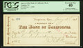 Obsoletes By State:Nevada, Virginia, NV- Agency of The Bank of California Check $116.00 Jan. 3, 1898. ...