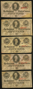Confederate Notes:1863 Issues, T63 50 Cents 1863, Five Examples.. ... (Total: 5 notes)