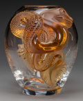 Art Glass:Lalique, A Limited Edition Lalique Clear and Gold Glass Dragon Vase,circa 1996. Marks: Lalique, France, 66/99. 11-1/...
