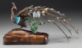 Asian:Chinese, A Chinese Cloisonné and Gilt Metal Peacock on Base, first half 20thcentury. Marks to plaque underneath tail: S.92. ...