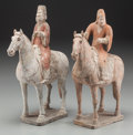 Asian:Chinese, A Pair of Chinese Tang Dynasty Earthenware Figures on Horses,618-907 AD. 13-1/4 h x 10-1/2 w inches (33.7 x 26.7 cm). ...(Total: 2 Items)