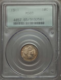 Barber Dimes, 1911 10C MS65 PCGS. PCGS Population (143/109). NGC Census: (130/59). Mintage: 18,870,544. Numismedia Wsl. Price for problem...