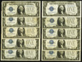 Fr. 1602 $1 1928B Silver Certificates. Ten Examples. Fine or Better