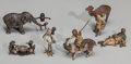 Decorative Arts, Continental:Other , A Group of Six Miniature Austrian Cold Painted Bronze MoorishFigures, late 19th/early 20th century. Marks to two figures: ...(Total: 6 Items)