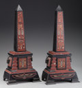 Decorative Arts, French:Other , A Pair of Egyptian Revival Patinated Bronze and Marble Obelisks,late 19th century. 17 inches high (43.2 cm). ... (Total: 2 Items)