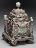 Asian:Other, A Mongolian-Style Jade and Hardstone Inlaid Silver-Plated IncenseBurner, Qing Dynasty, 19th century. 15-1/2 h x 10-1/2 w x ...(Total: 2 Items)