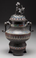 Paintings, A Japanese Meiji Period Bronze and Cloisonné Censer, late 19th century. 17 inches high (43.2 cm). ... (Total: 2 Items)