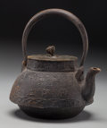 Asian:Japanese, A Japanese Iron and Bronze Teapot, early 20th century. Marks:(character marks to underside of lid). 8 inches high (20.3 cm)...