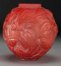Art Glass:Lalique, An Extremely Rare R. Lalique Red Glass Formose Vase, circa1924. Marks: R. LALIQUE, R. Lalique. 7 inches hig...