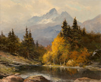 Robert William Wood (American, 1889-1979) The Grand Tetons Oil on canvas 20 x 24 inches (50.8 x 6
